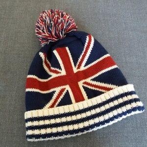 Union Jack Pom Beanie Knit Winter Hat